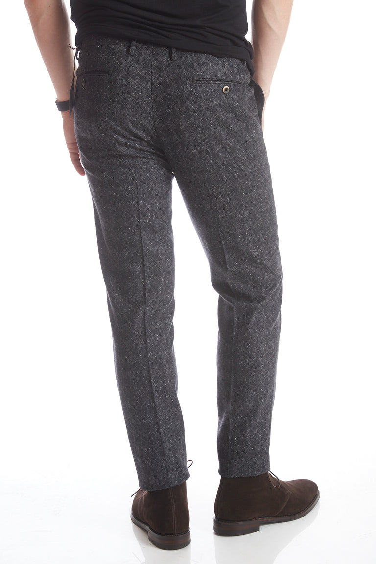 Echizenya Grey Houndstooth Donegal Wool Pants - Pants - Echizenya - LALONDE's