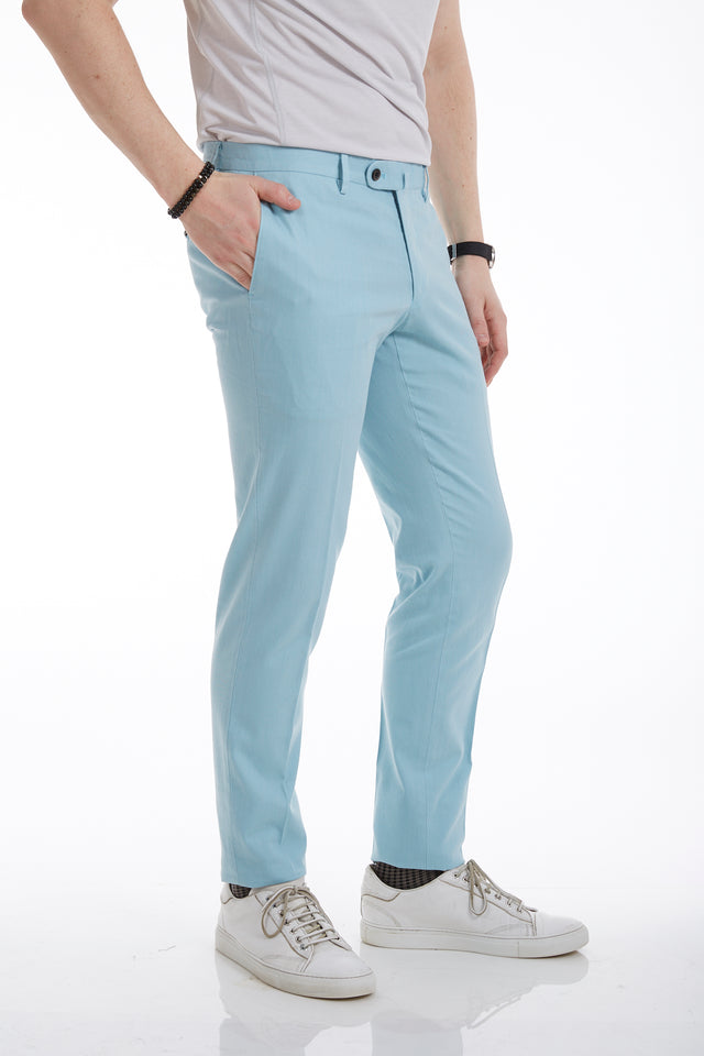 Echizenya Light Blue Cotton-Linen Pants - Pants - Echizenya - LALONDE's