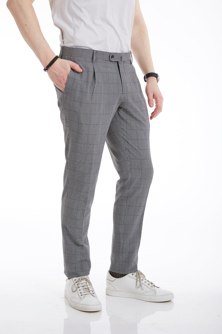 Echizenya Grey Seersucker Glencheck Pleated Trouser - Pants - Echizenya - LALONDE's