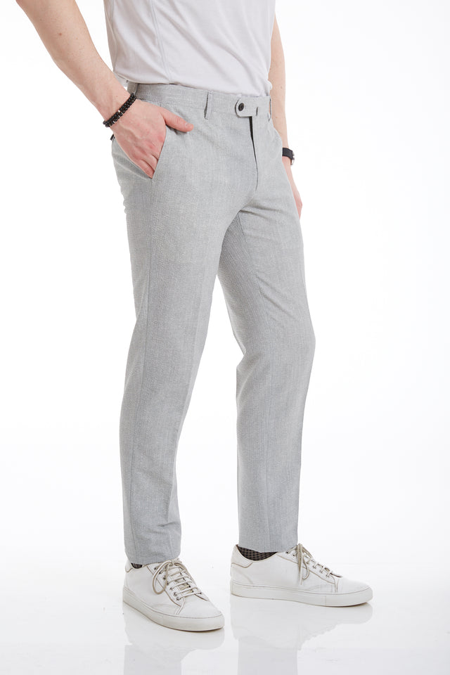 Echizenya Light Grey Technical Seersucker Pants - Pants - Echizenya - LALONDE's