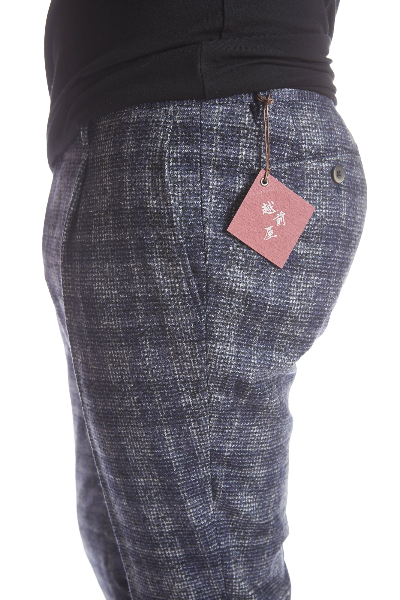 Echizenya Blue Plaid Pleated Wool Pants - Pants - Echizenya - LALONDE's