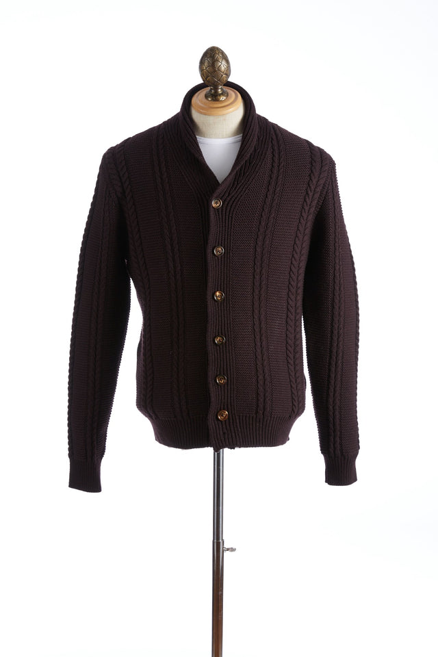 Eleventy Burgundy Ribbed Shawl Collar Cardigan - Sweaters - Eleventy - LALONDE's