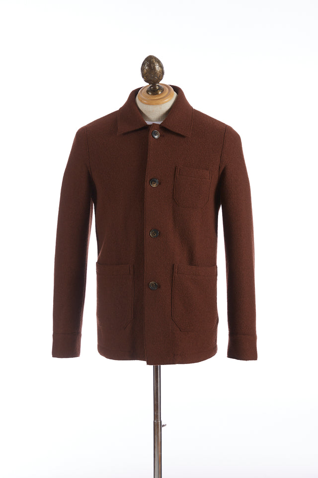 Eleventy Burnt Orange Boiled Wool Shirt Jacket