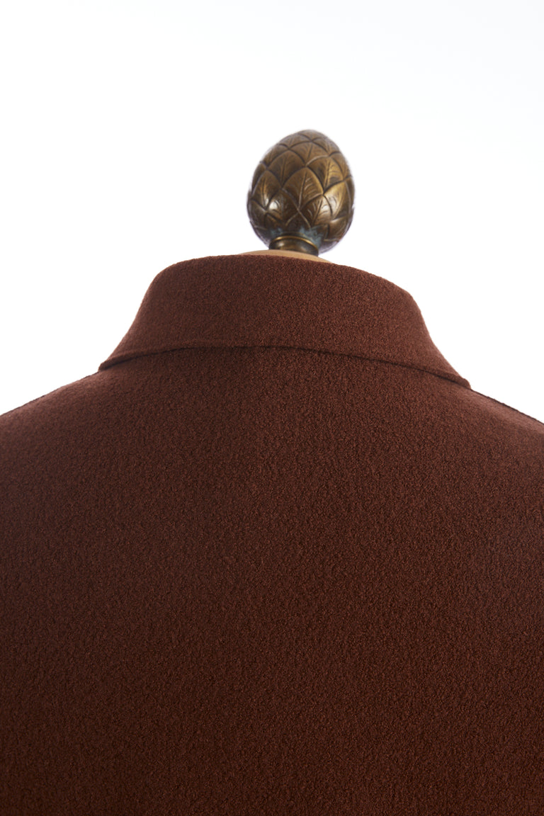Eleventy Burnt Orange Boiled Wool Shirt Jacket - Outerwear - Eleventy - LALONDE's