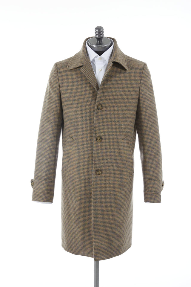 Eleventy Camel Houndstooth Wool Topcoat - Outerwear - Eleventy - LALONDE's