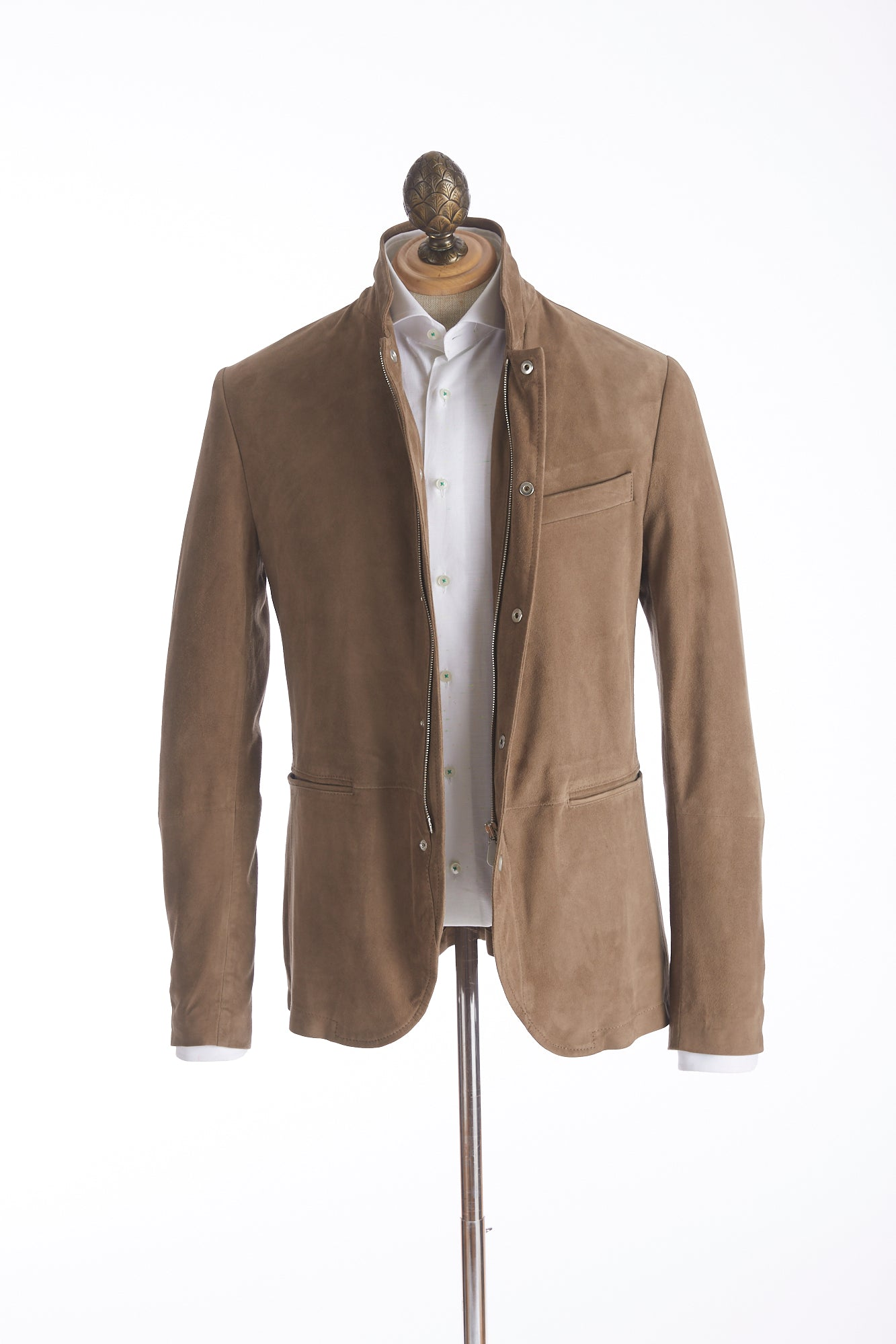 Eleventy Coffee Suede Leather Jacket - Outerwear - Eleventy - LALONDE's