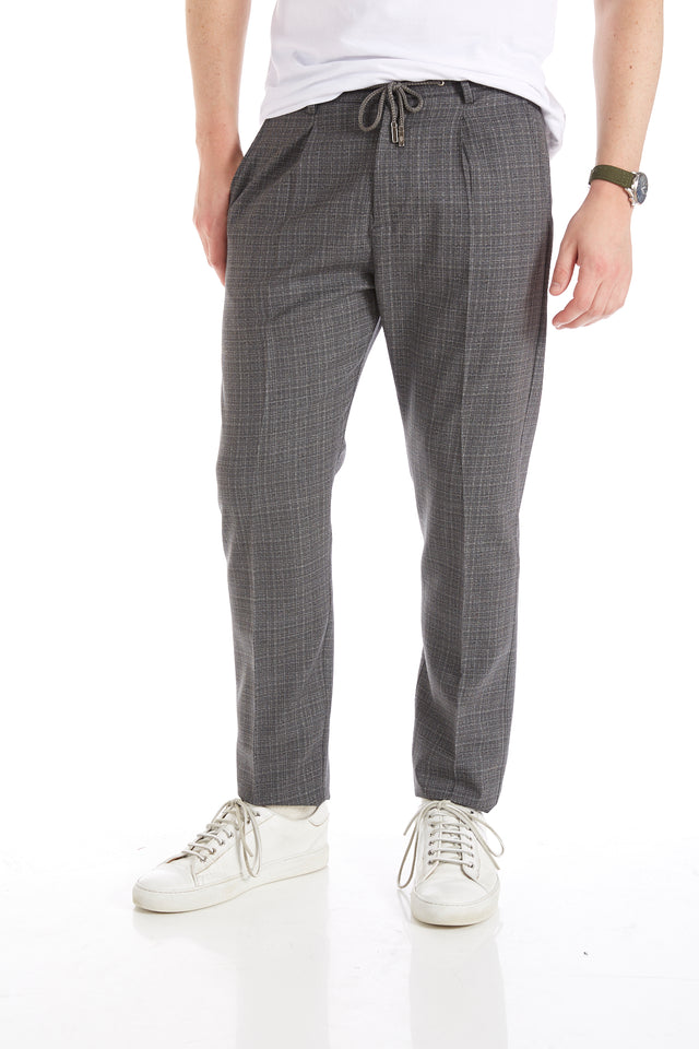 Eleventy Grey Check Drawstring Pleated Pants - Pants - Eleventy - LALONDE's