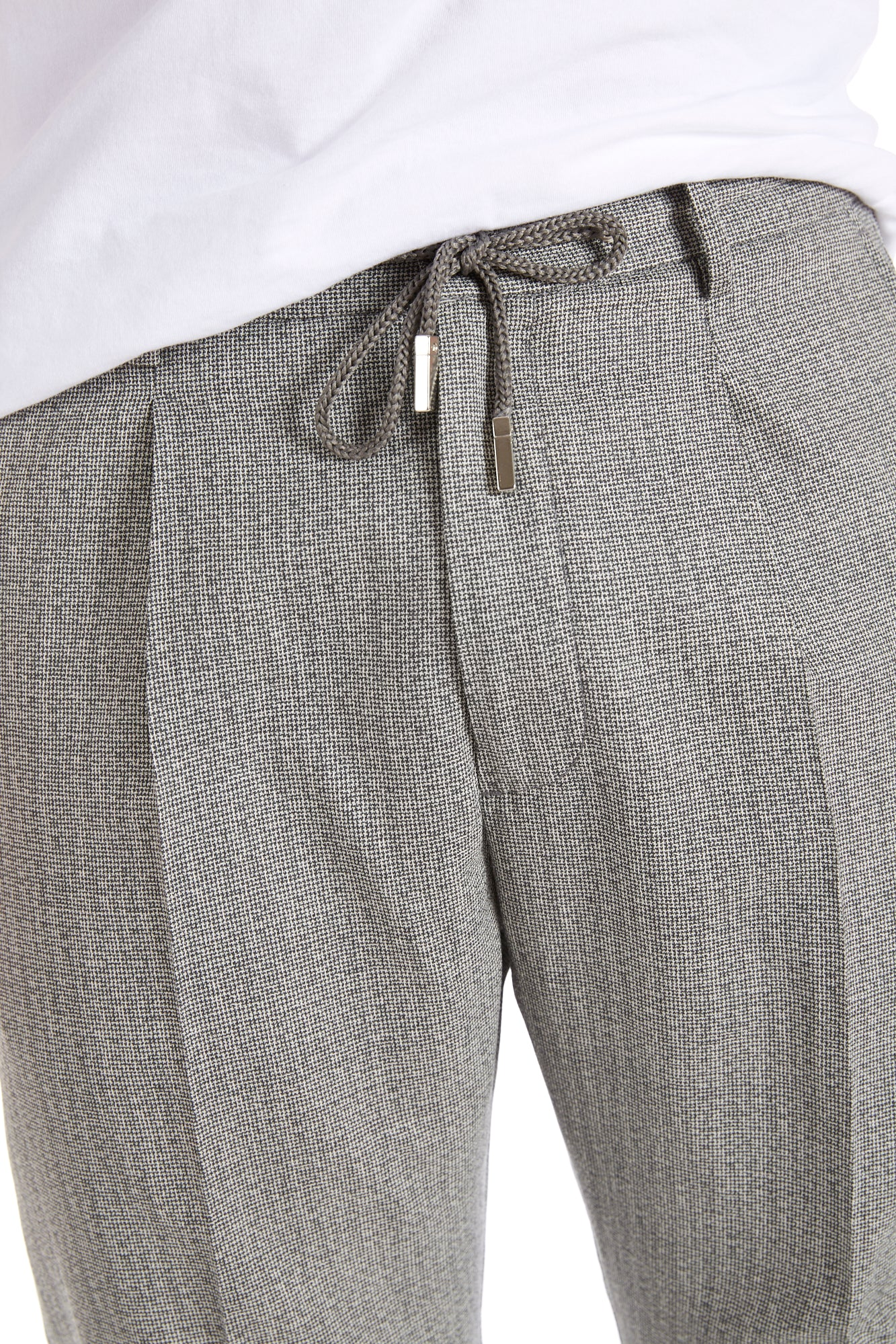 Eleventy Light Grey Herringbone Drawstring Pleated Pants - Pants - Eleventy - LALONDE's