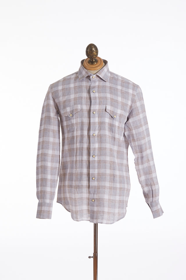 Eleventy Linen Brown Check Snap Button Shirt