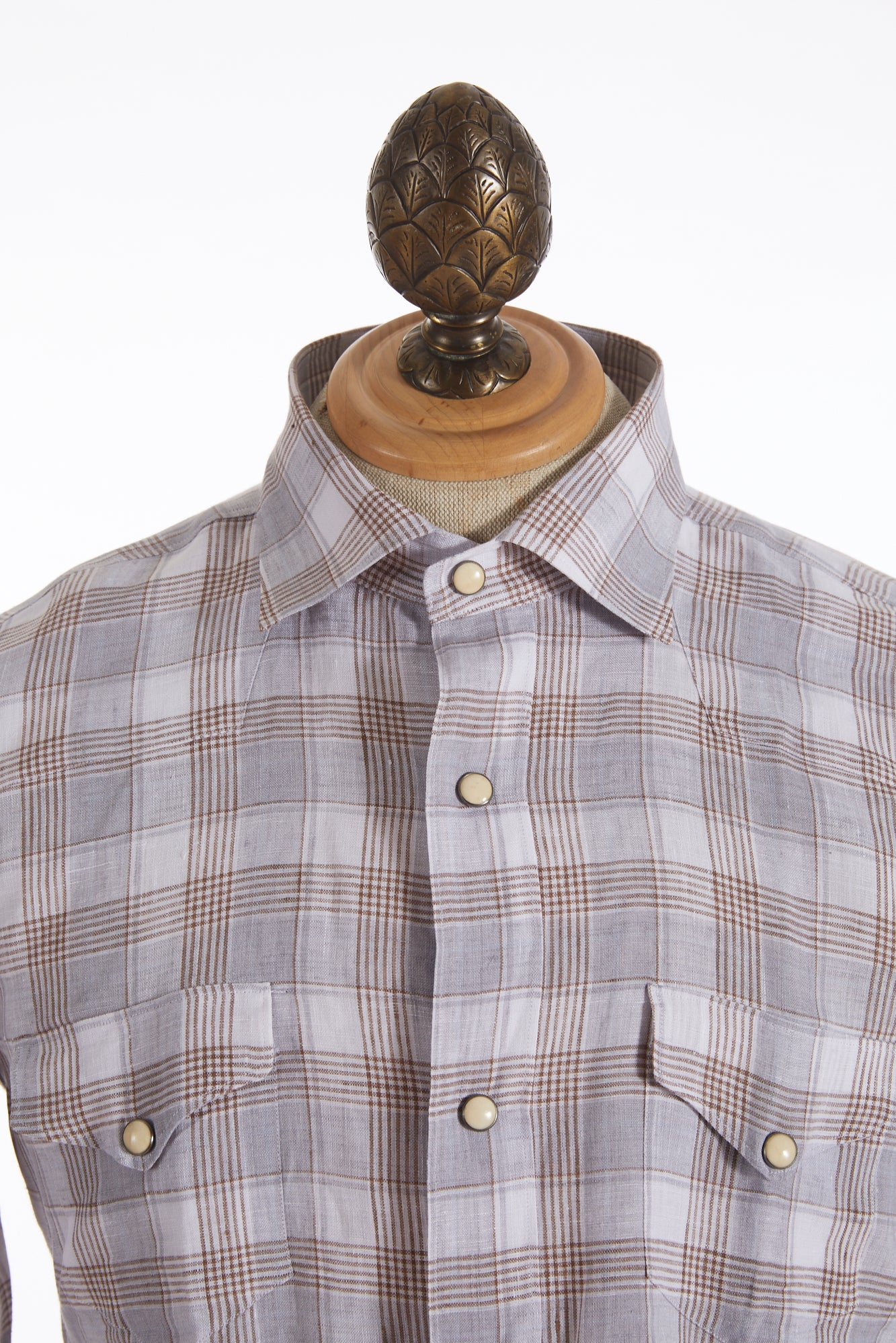 Eleventy Linen Brown Check Snap Button Shirt - Shirts - Eleventy - LALONDE's