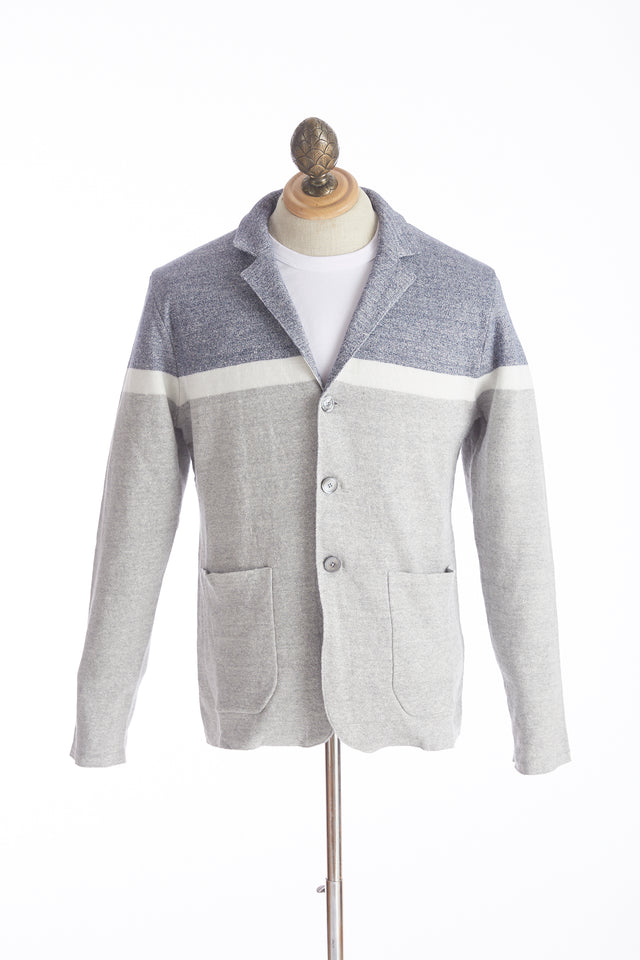 Eleventy Tri-Colour Linen Cotton Sweater Jacket