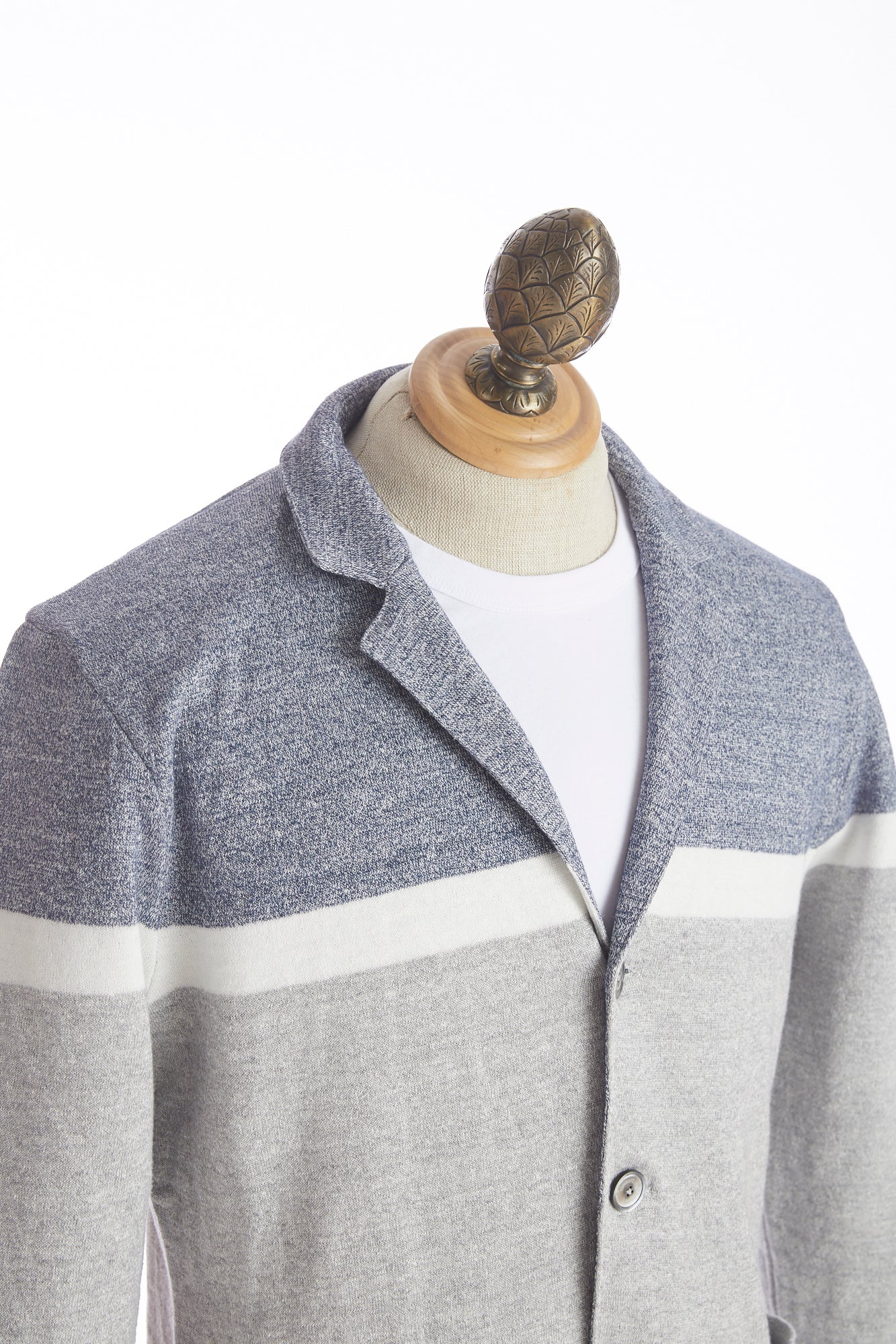 Eleventy Tri-Colour Linen Cotton Sweater Jacket - Sweaters - Eleventy - LALONDE's