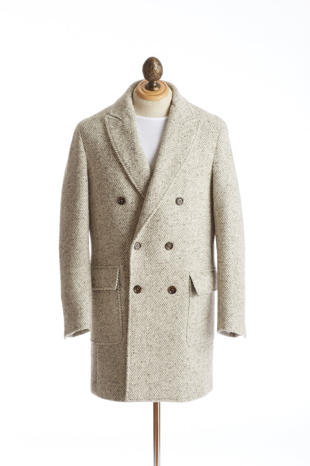 Eleventy White & Grey Herringbone Double-breasted Wool Topcoat