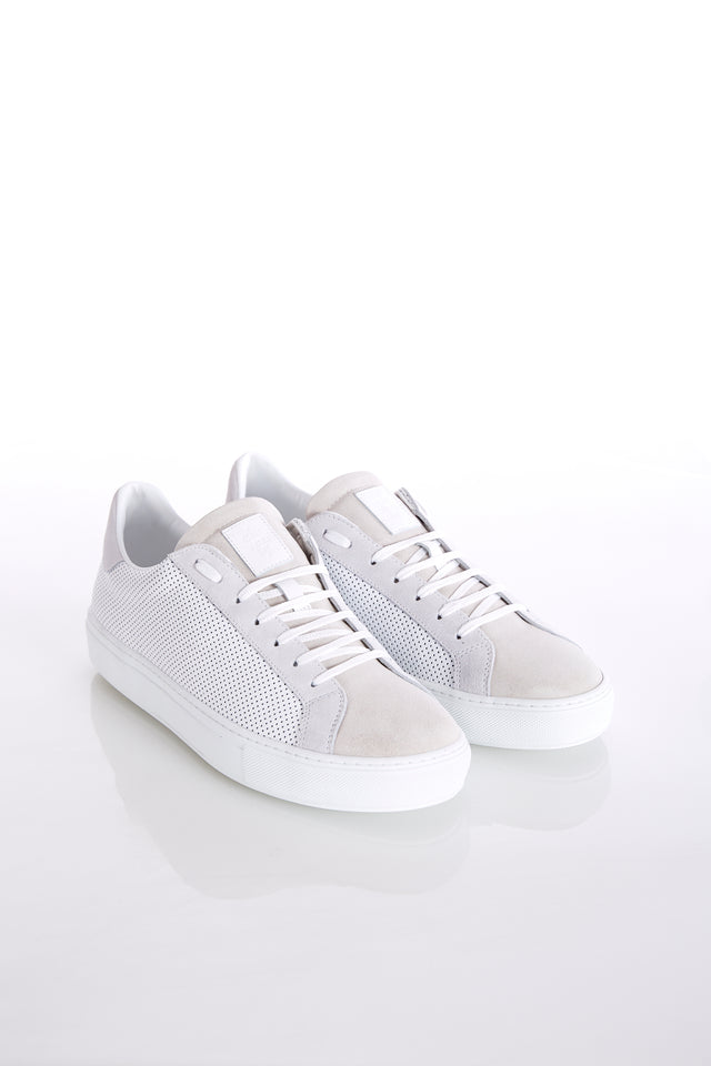Eleventy White Perforated Leather & Beige Suede Sneaker