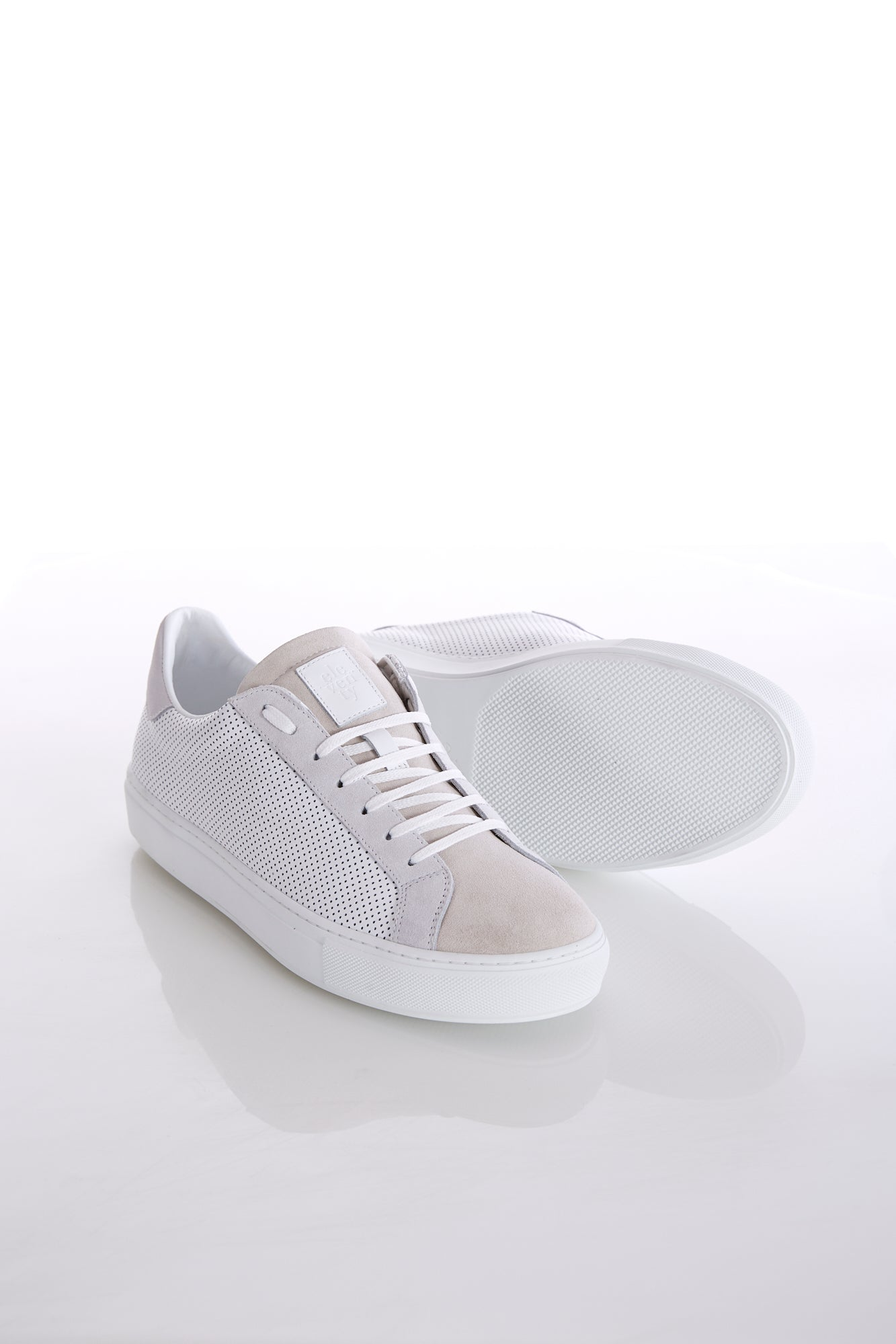 Eleventy White Perforated Leather & Beige Suede Sneaker - Shoes - Eleventy - LALONDE's