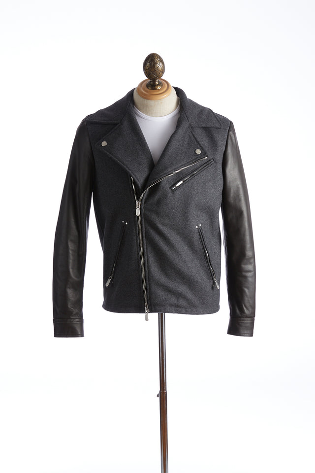 Eleventy Wool-Leather Double Rider Jacket