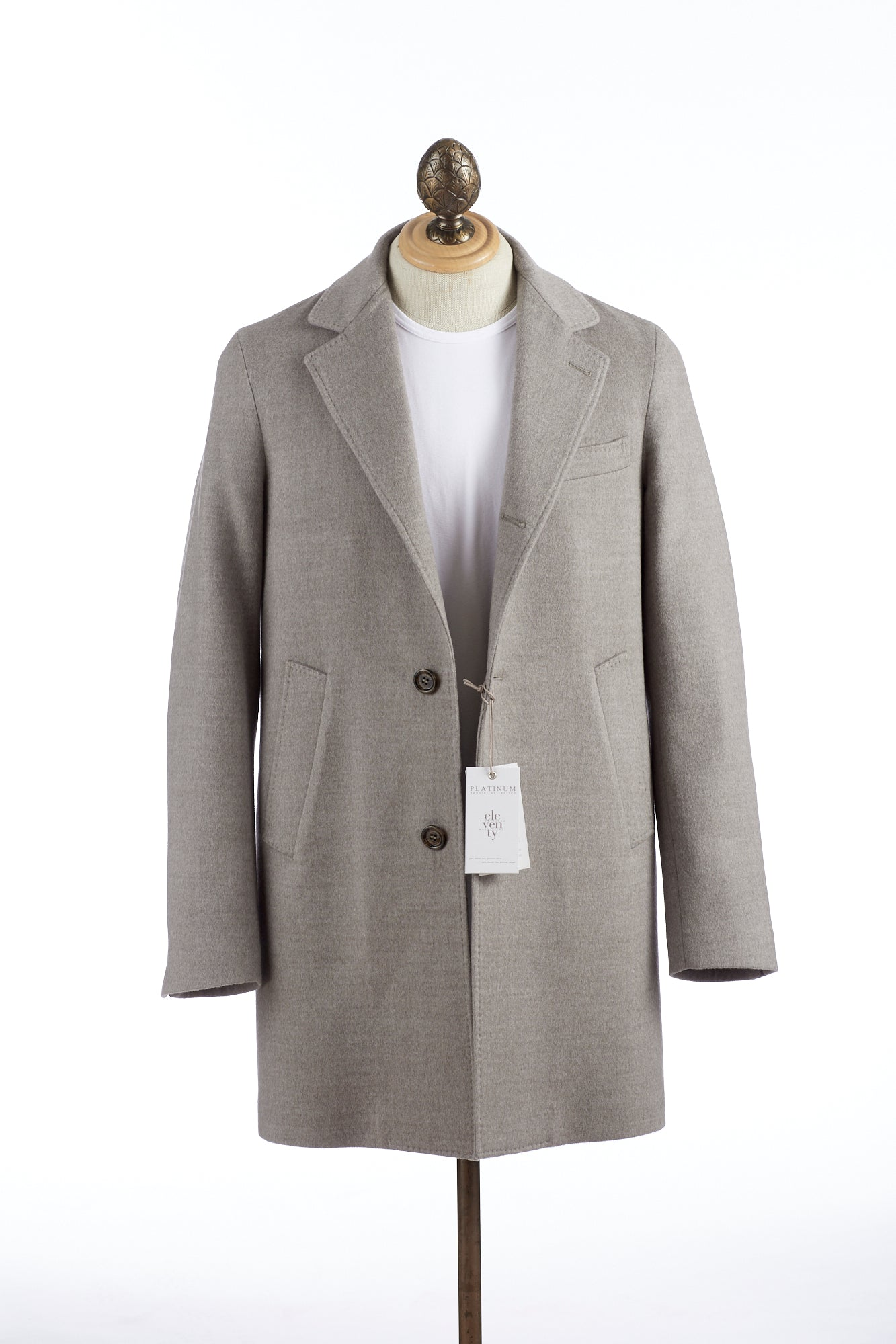 Eleventy Taupe Wool Topcoat - Outerwear - Eleventy - LALONDE's