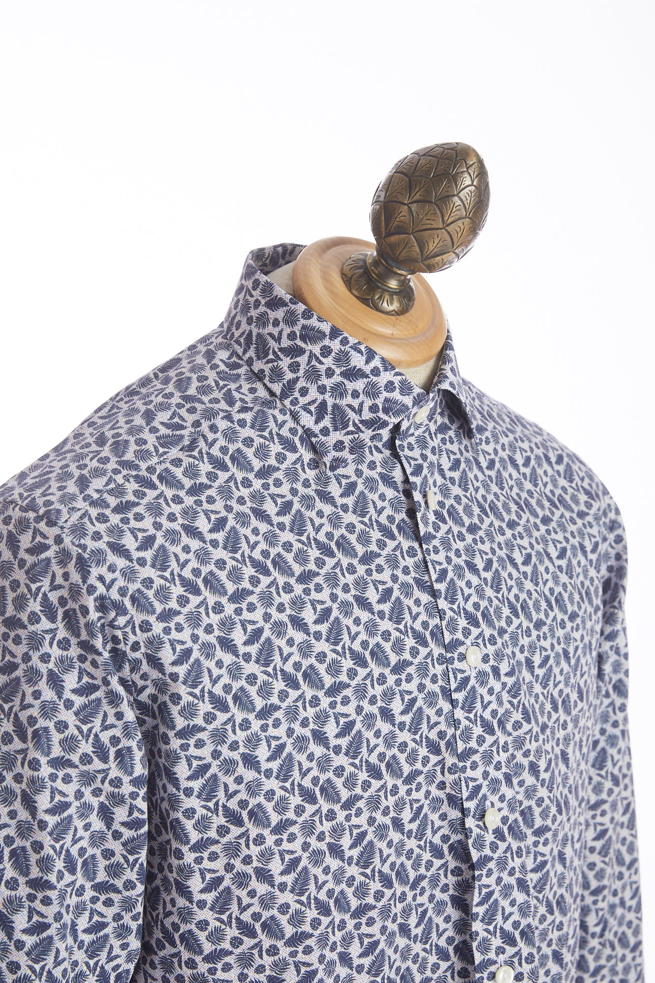 Eton Blue Palm Leaves Print Shirt - Shirts - Eton - LALONDE's