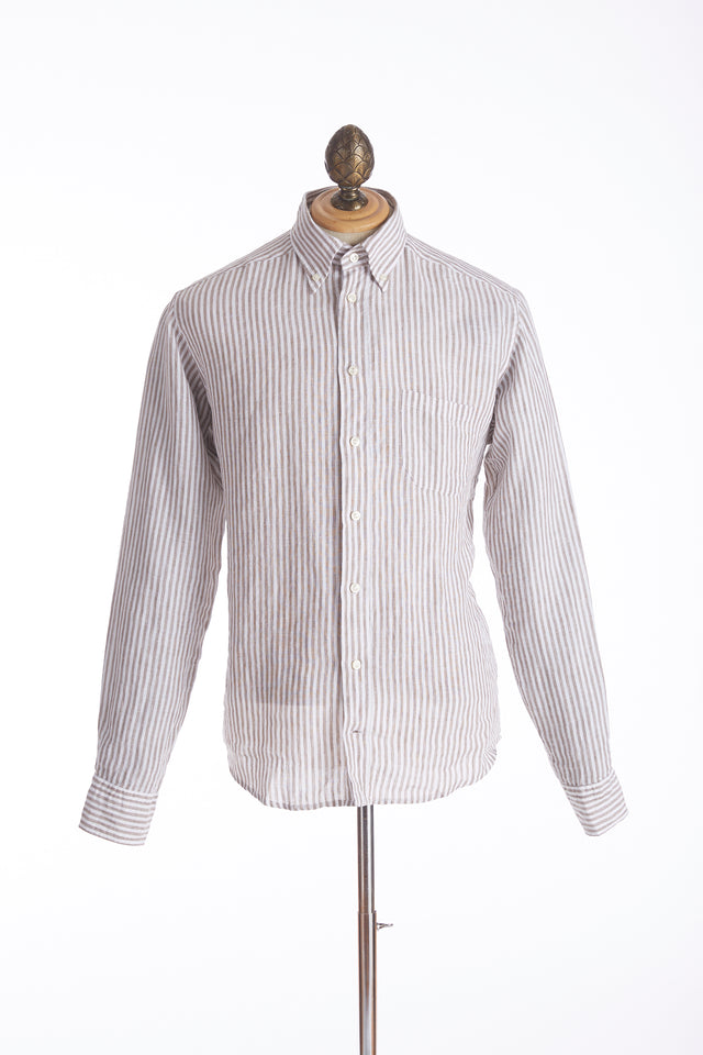 Eton Brown Striped Linen Shirt - Shirts - Eton - LALONDE's