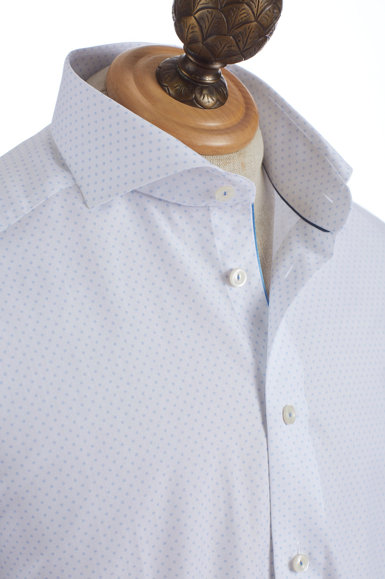 Eton Circle Dot Print Shirt Collar