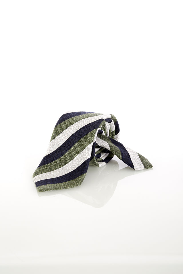 Eton Green, White and Navy Striped Tie
