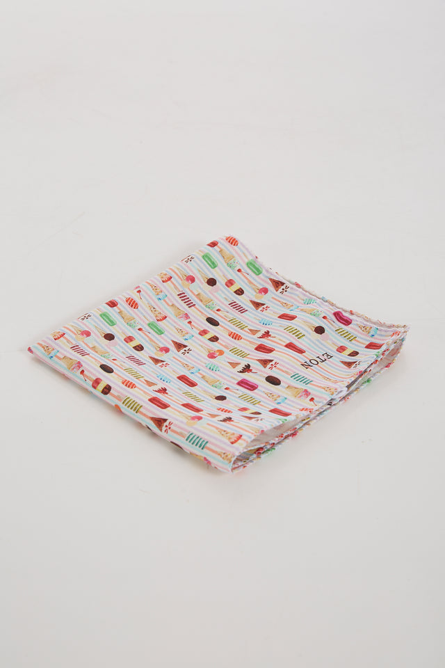 Eton Light Pink Striped Ice Cream Print Pocketsquare - Accessories - Eton - LALONDE's