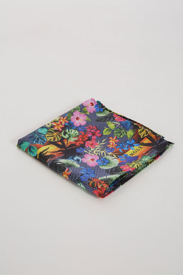 Eton Multicoloured Silk Tropical Floral Print Pocketsquare - Accessories - Eton - LALONDE's