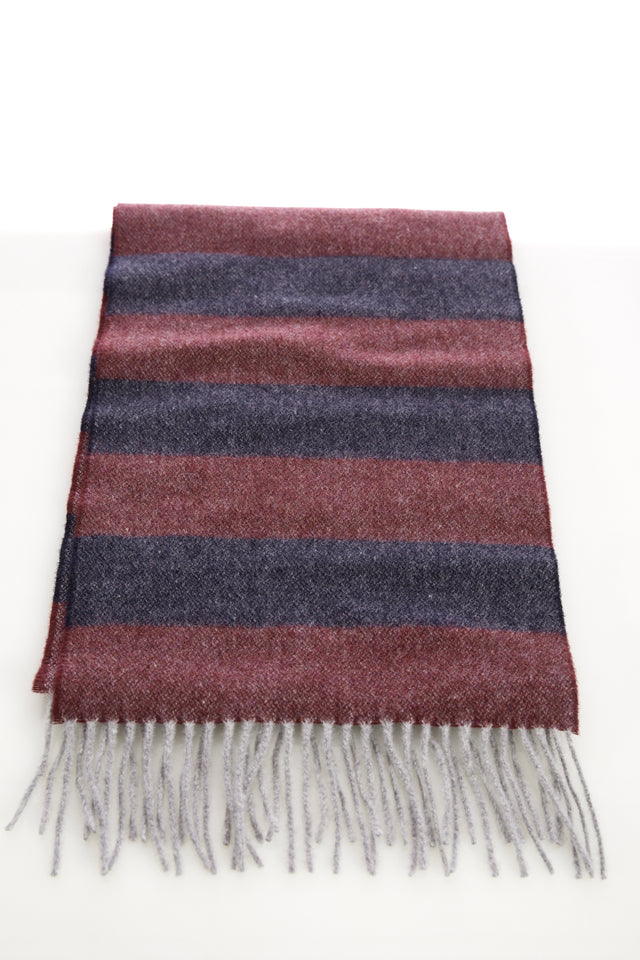Eton Navy and Red Striped Wool Scarf - Accessories - Eton - LALONDE's