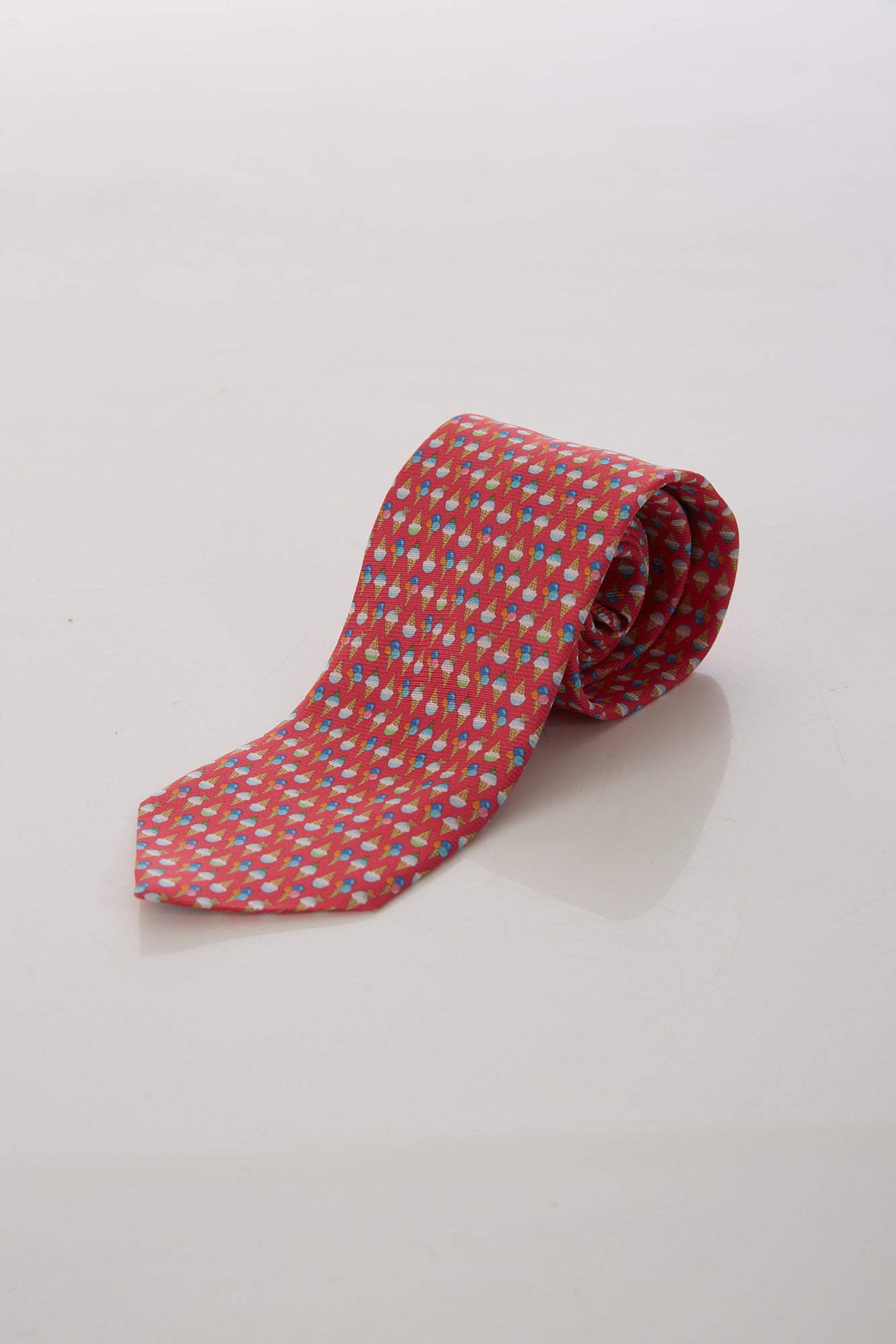 Eton Pink Ice Cream Print Silk Tie
