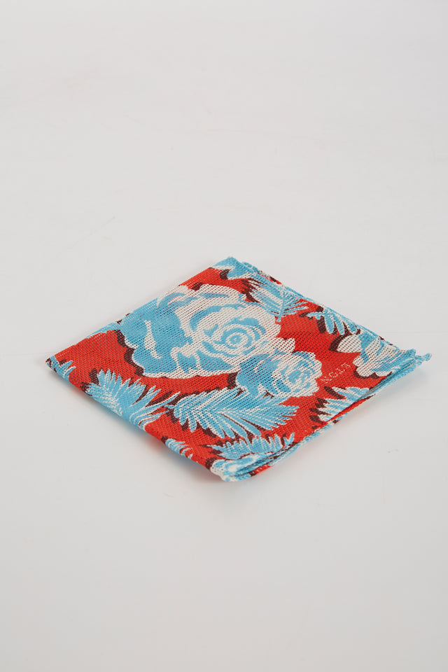 Eton Red Cotton Floral Print Pocketsquare - Accessories - Eton - LALONDE's
