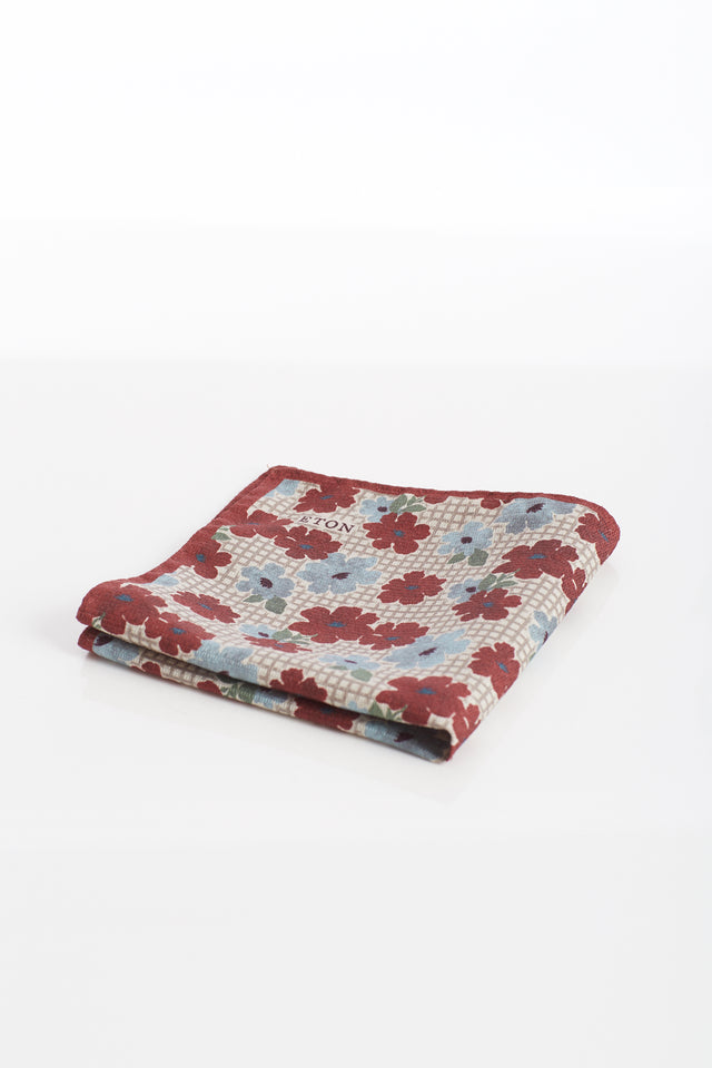 Eton Red Floral Pocket Square