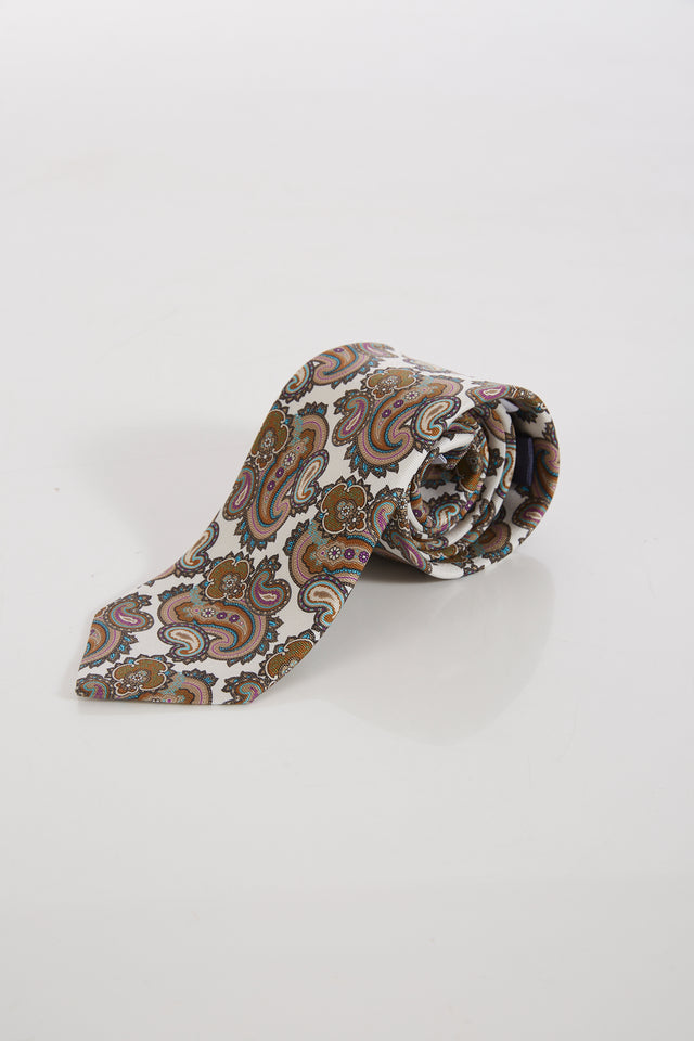 Eton White and Gold Paisley Silk Tie - Ties - Eton - LALONDE's