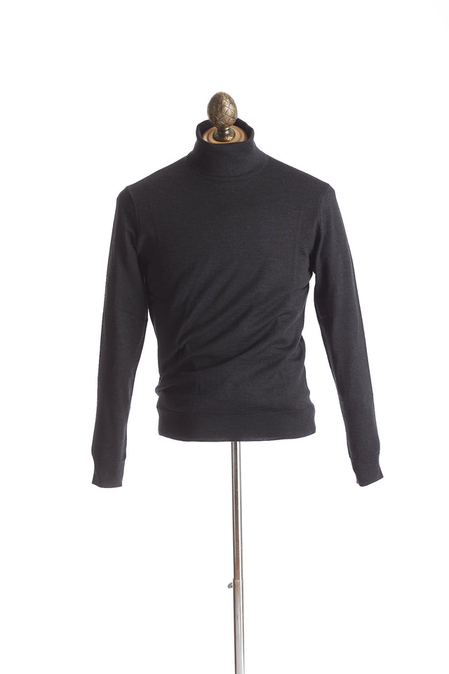 Gim co. ltd. Super 140's Charcoal Grey Turtleneck Sweater - Sweaters - Gim co. ltd. - LALONDE's