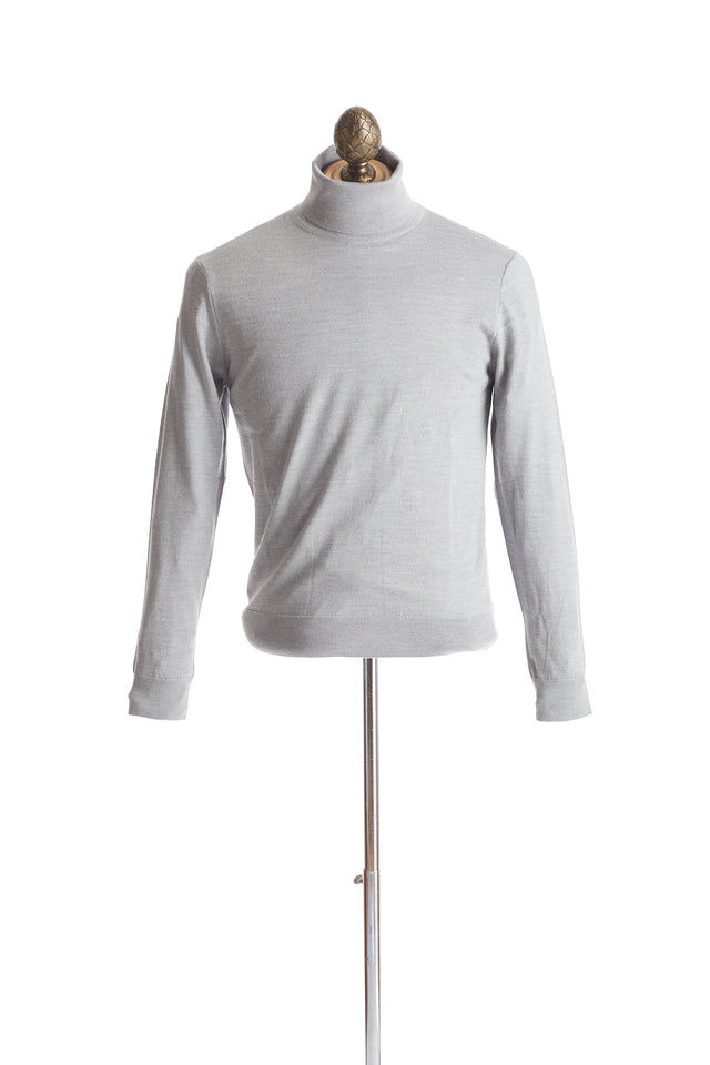 Gim Super 140's Light Grey Turtleneck Sweater