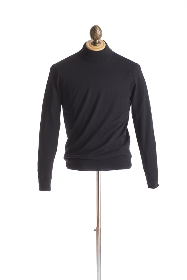 Gim co. ltd. Super 140's Wool Black Mock neck Sweater - Sweaters - Gim co. ltd. - LALONDE's