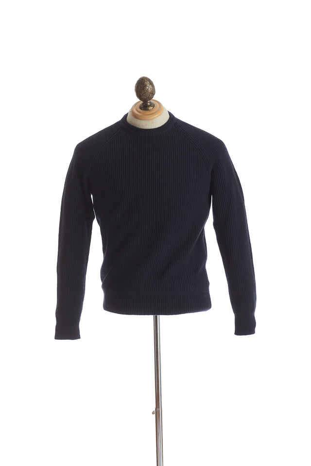 Gim co. ltd. Super 160's Navy Ribbed Crewneck Sweater - Sweaters - Gim co. ltd. - LALONDE's