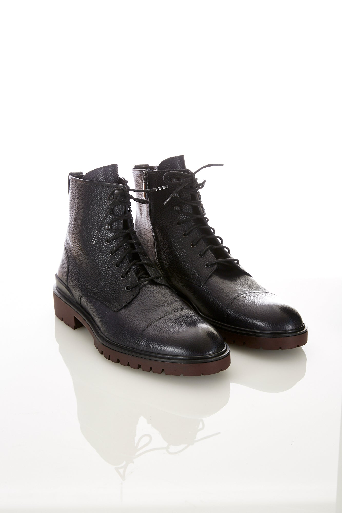 Giulio Moretti Black Side-Zip Cap Toe Boot - Shoes - Giulio Moretti - LALONDE's