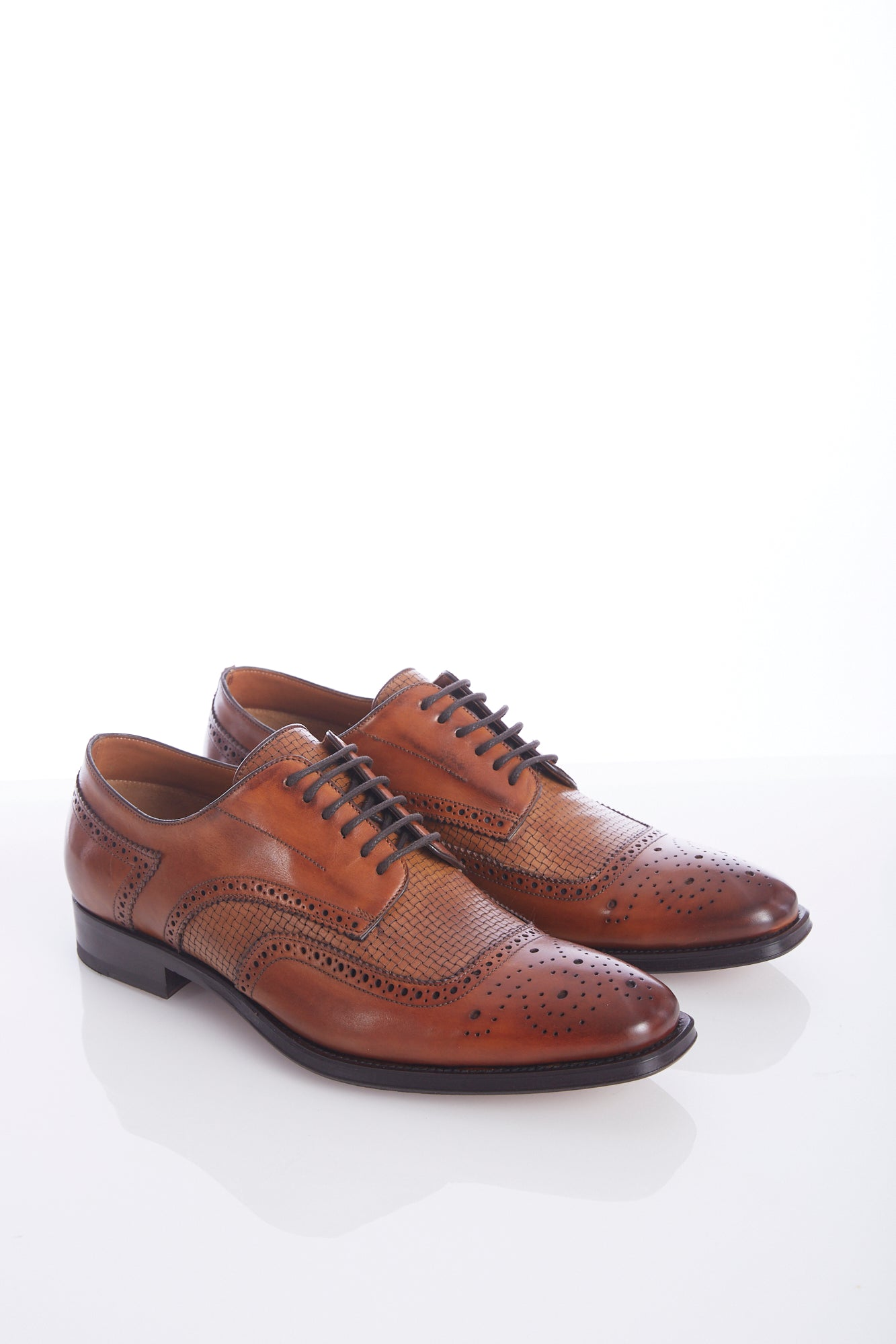 Giulio Moretti Brown Braided U-Wing Shoes