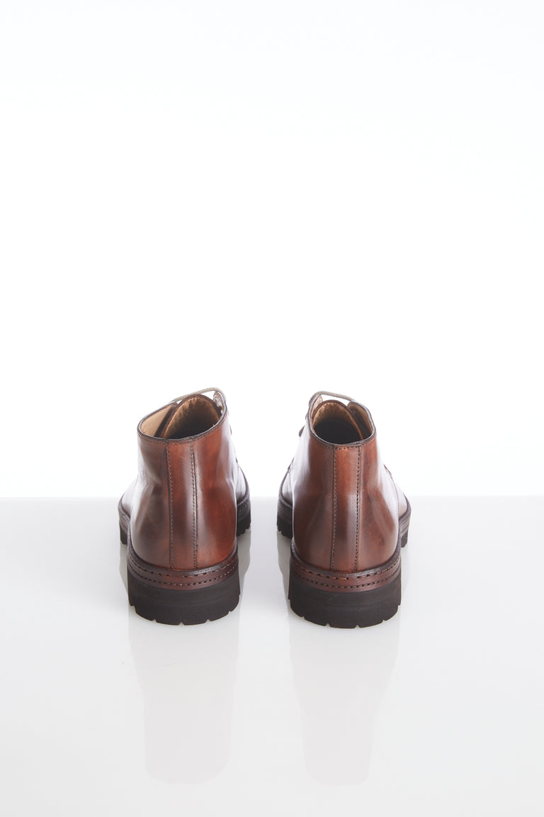 Giulio Moretti Burnished Brown Leather Chukka Boots - Shoes - Giulio Moretti - LALONDE's
