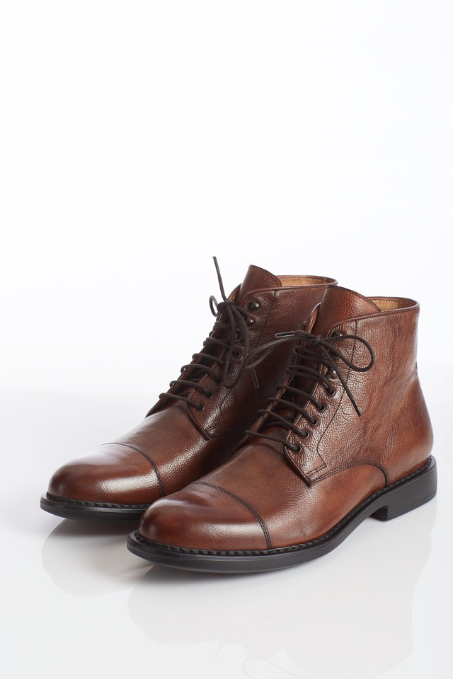 Giulio Moretti Lightweight Brown Cap-Toe Boot - Shoes - Giulio Moretti - LALONDE's