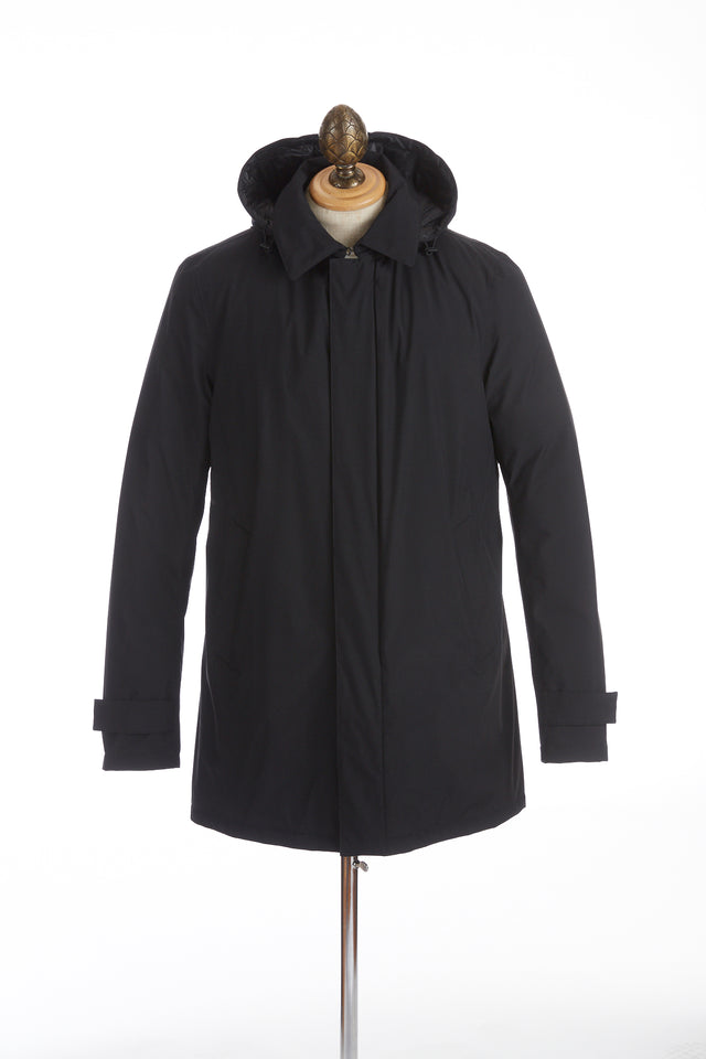 Herno Laminar Black Lined Mac Coat with Removable Hood