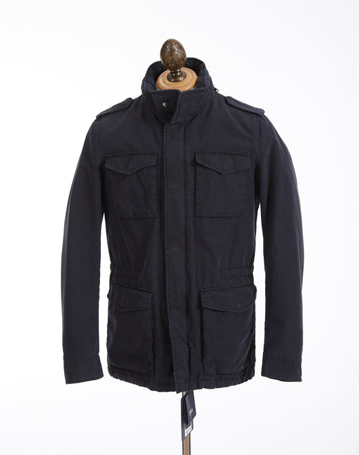 Herno Navy Techno-Cotton Washed Field Jacket - Outerwear - Herno - LALONDE's