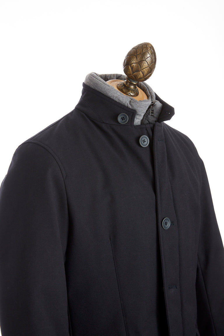 Herno Navy Techno-Wool Quilted Short Jacket - Outerwear - Herno - LALONDE's