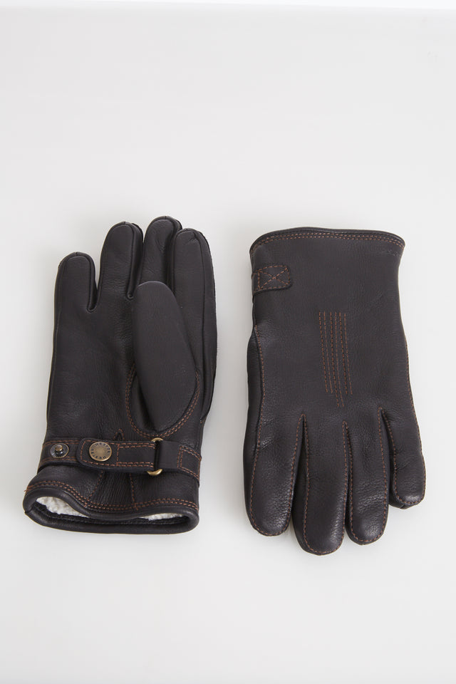 Hestra Black Deerskin Leather Gloves with Shearling Lining - Accessories - Hestra - LALONDE's