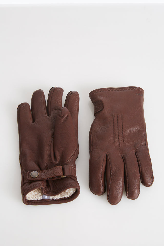Hestra Brown Deerskin Leather Gloves with Shearling Lining