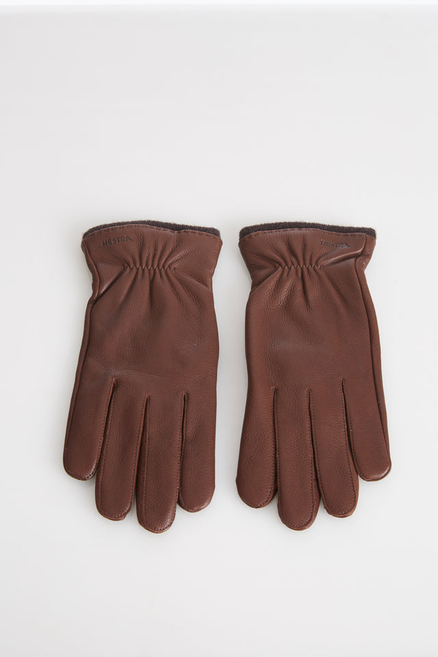 Hestra Brown Deerskin Leather Gloves with Wool Lining - Accessories - Hestra - LALONDE's