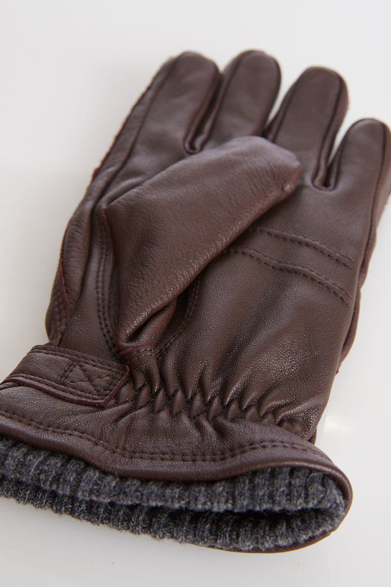 Hestra Brown Elksin Leather Gloves with Primaloft Lining - Accessories - Hestra - LALONDE's