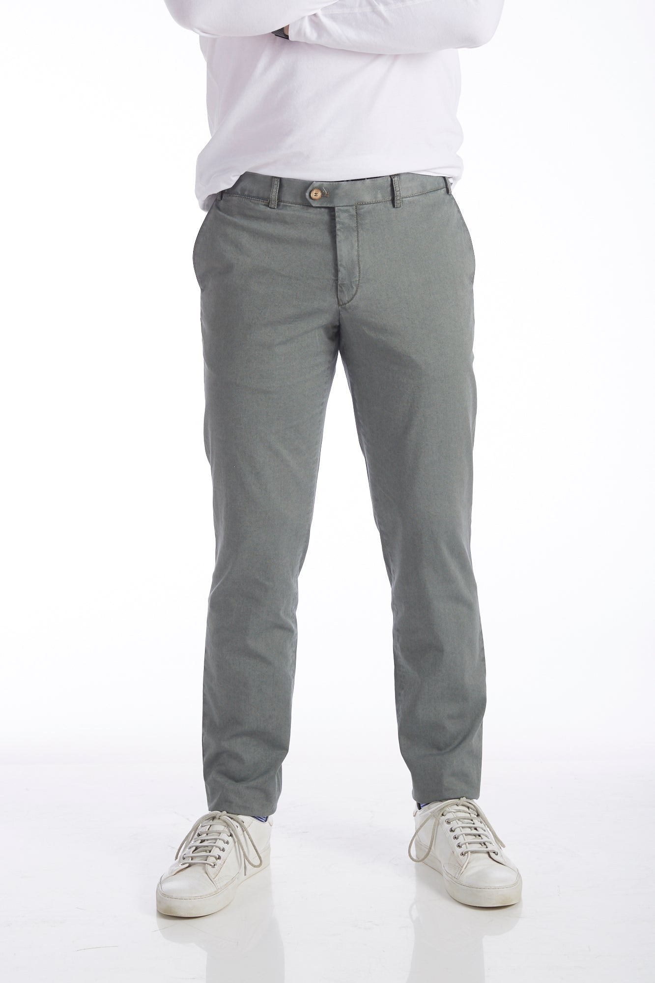Hiltl Washed Green Cotton Chinos - Pants - Hiltl - LALONDE's