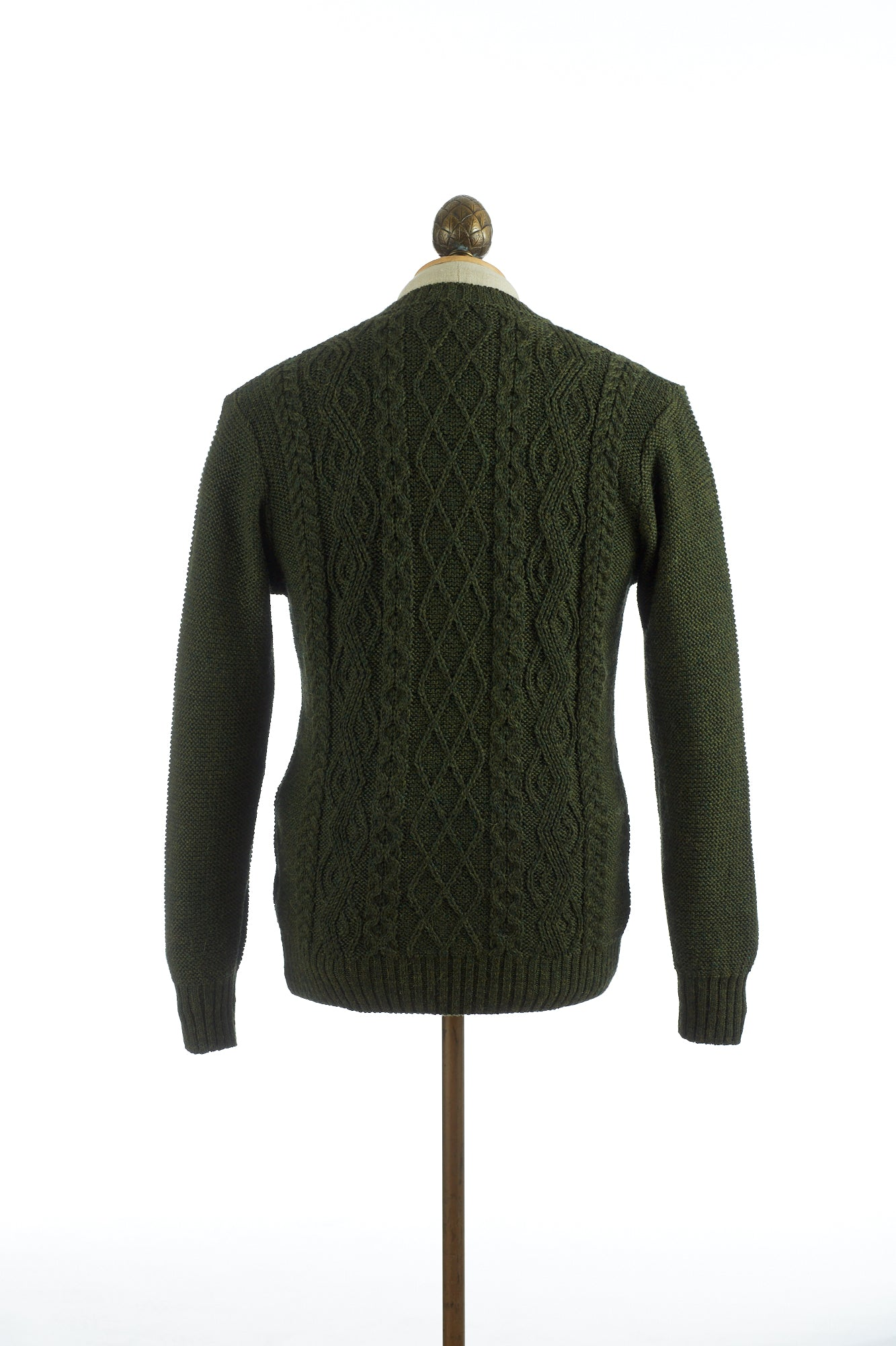 Inis Meáin Aran Green Cable Knit Crewneck Sweater Back