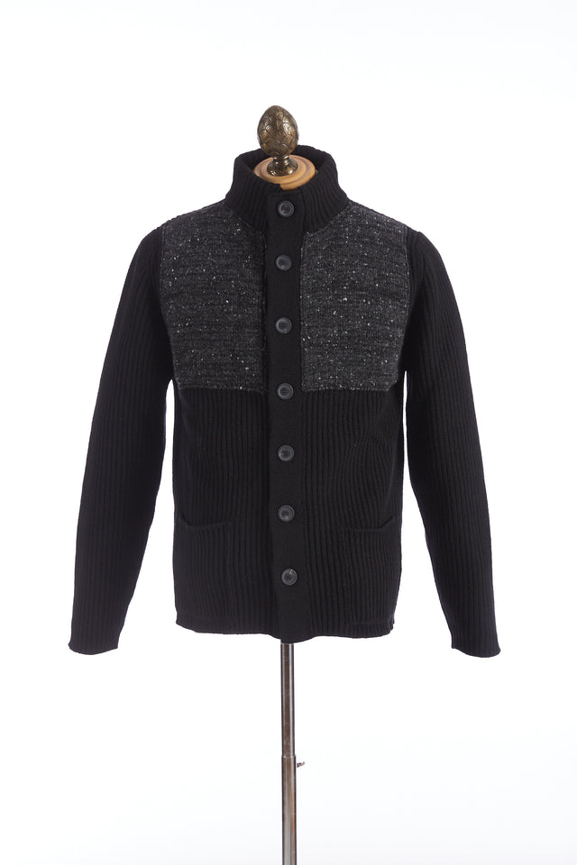 Inis Meáin Black Donegal Patched Storm Jacket Sweater - Sweaters - Inis Meáin - LALONDE's